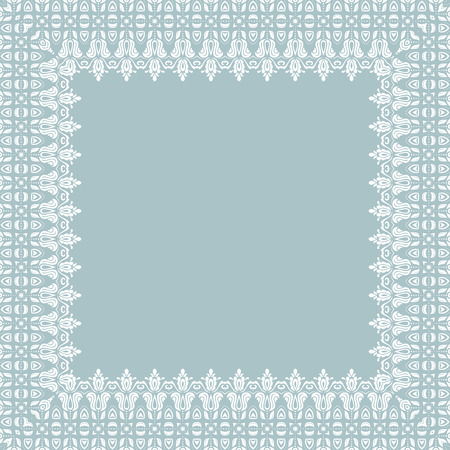 blue card: Classic vector white frame with arabesques and orient elements. Abstract fine ornament Illustration