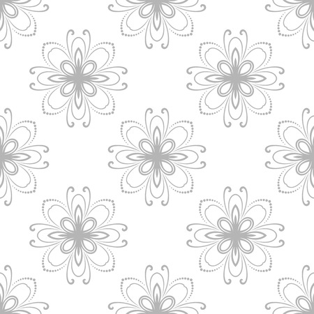 fine silver: Floral vector ornament. Seamless abstract fine silver pattern