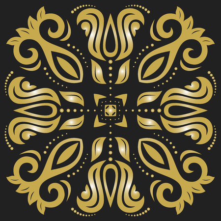 black damask: Oriental vector pattern with arabesques and floral golden elements. Traditional classic ornament