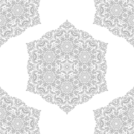 oriental vector: Oriental vector classic pattern. Seamless abstract silver background