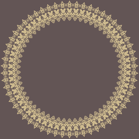 oriental vector: Oriental vector abstract round frame with golden arabesques and floral elements. Fine greeting card