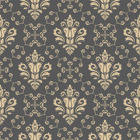 Oriental vector classic pattern. Seamless abstract golden background