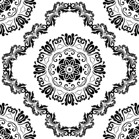 oriental vector: Oriental vector classic black and white pattern. Seamless abstract background Illustration