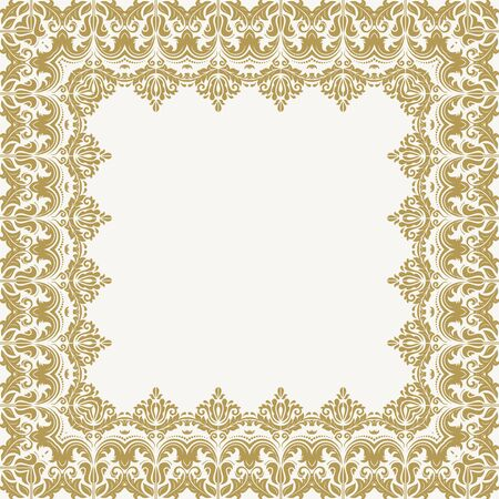 damask border: Classic  frame with arabesques and orient golden elements. Abstract fine ornament Stock Photo