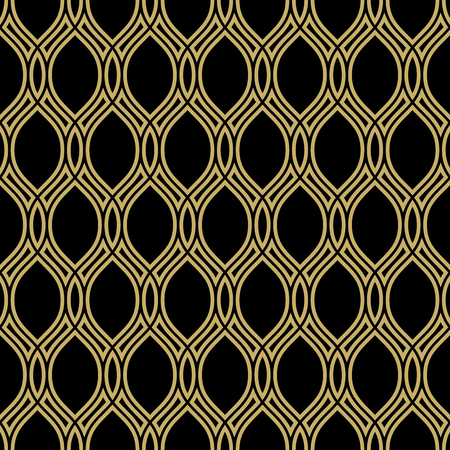 waves pattern: Seamless vector ornament. Modern stylish geometric pattern with repeating golden elements