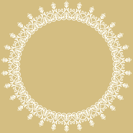 frilly: Oriental vector abstract round frame with arabesques and floral white elements. Fine greeting golden card