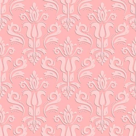 patrones de flores: Ornamento oriental de color sin fisuras. Textura fina oriental tradicional. Modelo rosado con elementos en 3D, sombras y luces