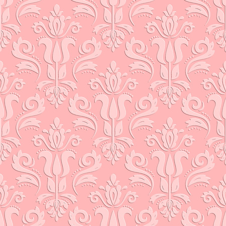 3d paper art: Seamless oriental colored ornament. Fine  traditional oriental texture. Pink pattern with 3D elements, shadows and highlights