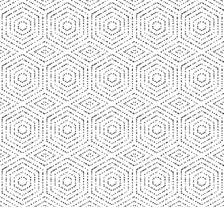 ornement répéter géométrique avec des hexagones en pointillés noirs. Seamless abstrait moderne