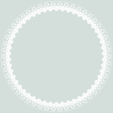 frilly: Oriental  abstract round frame with arabesques and floral elements. Fine greeting card Stock Photo