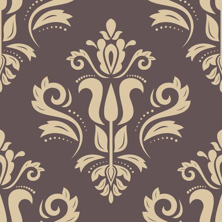 brown wallpaper: Oriental  classic pattern. Seamless abstract brown and golden background
