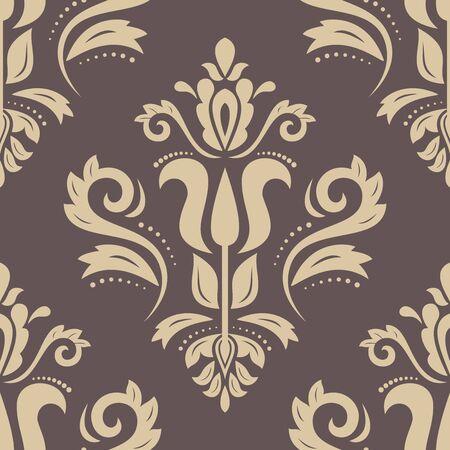 hojas antiguas: Patrón clásico oriental. Marrón abstracto inconsútil y fondo de oro