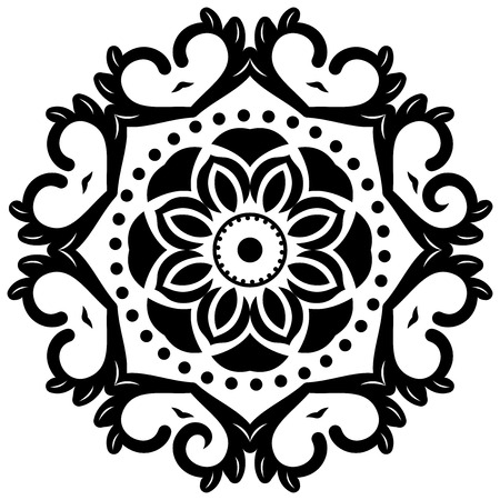 Oriental vector pattern with arabesques and floral elements. Traditional classic black and white ornament
