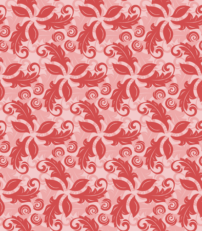 Floral vector red ornament. Seamless abstract background with fine pattern