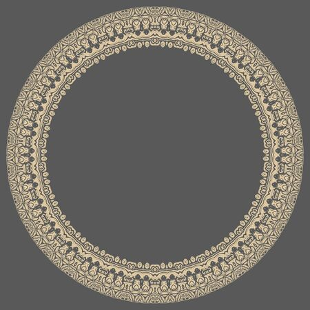frilly: Oriental vector abstract round golden frame with arabesques and floral elements. Fine greeting card Illustration