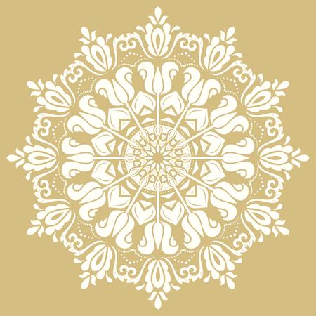 Motif or et blanc Oriental avec des arabesques et des éléments floraux