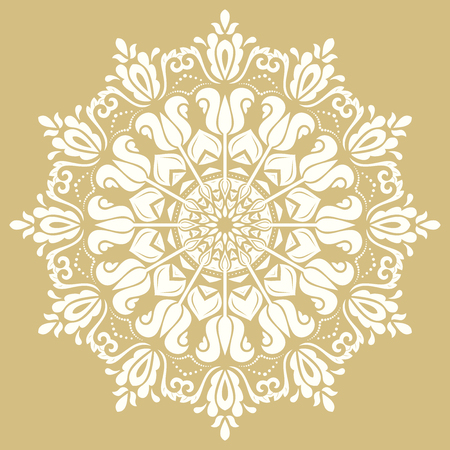 Oriental golden and white pattern with arabesques and floral elements Illustration