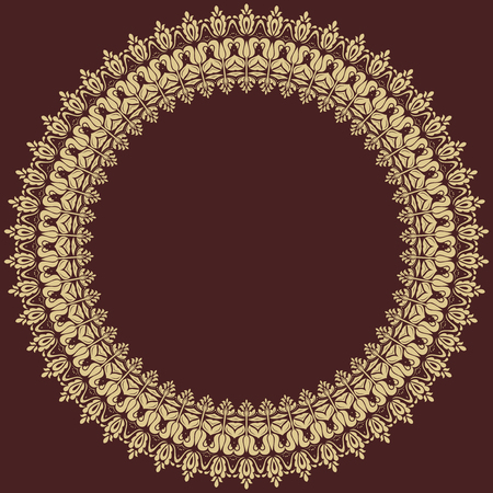 frilly: Oriental vector abstract golden round ornament with arabesques and floral elements. Fine  colored pattern