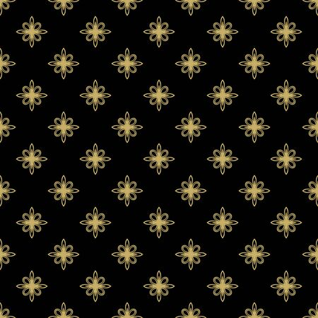 fine: Floral  black and golden ornament. Seamless abstract classic fine pattern Stock Photo