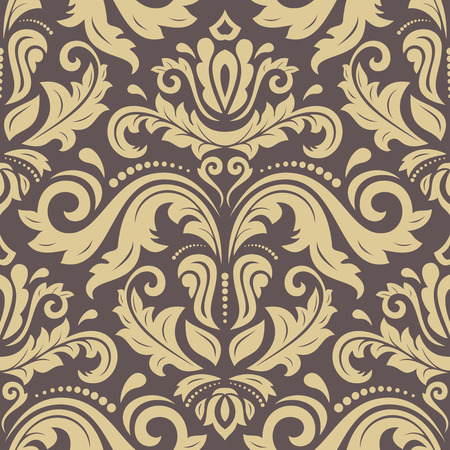 tile pattern: Damask seamless ornament. Traditional vector pattern. Classic oriental brown and golden background