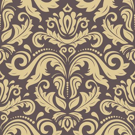 Damassé seamless ornament. Modèle traditionnel vecteur. Brun oriental classique et fond d'or Banque d'images - 47887502