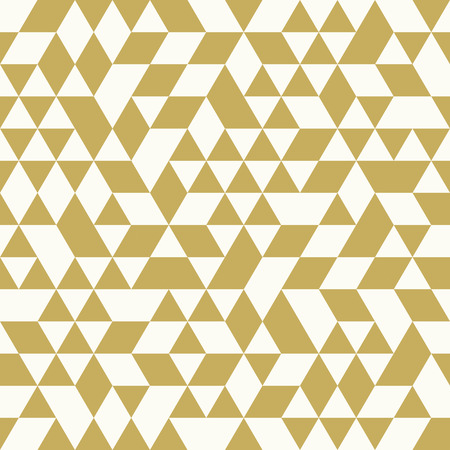 Geometric vector pattern with white and golden triangles. Seamless abstract background Çizim