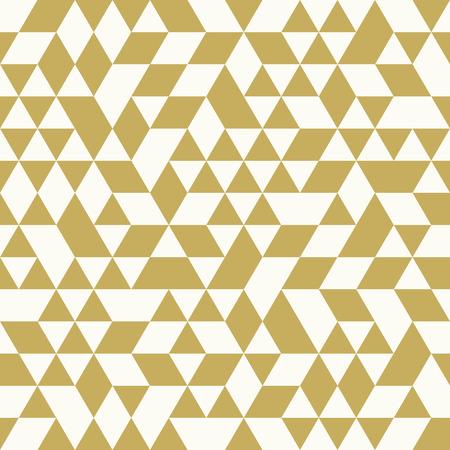 forme geometrique: modèle vectoriel géométrique avec des triangles blancs et dorés. Seamless abstract Illustration