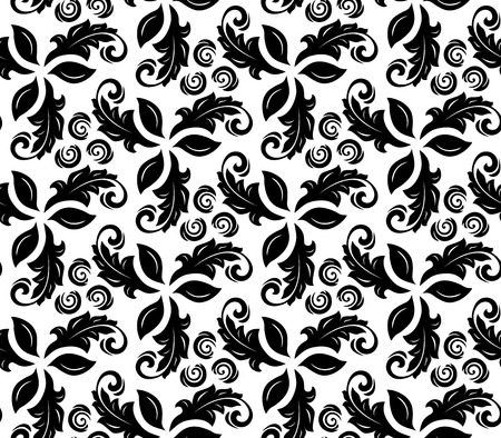 Floral vector black and white ornament. Seamless abstract background with fine pattern
