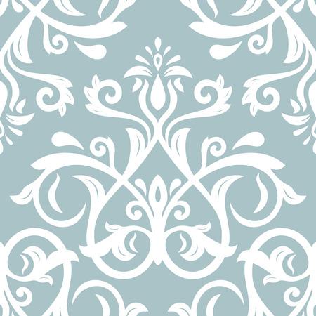 arabesco: Damasco sin fisuras ornamento azul claro y blanco. Vector patrón tradicional. Fondo oriental clásico