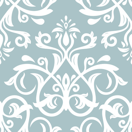 Damask seamless light blue and white ornament. Traditional vector pattern. Classic oriental background Illustration