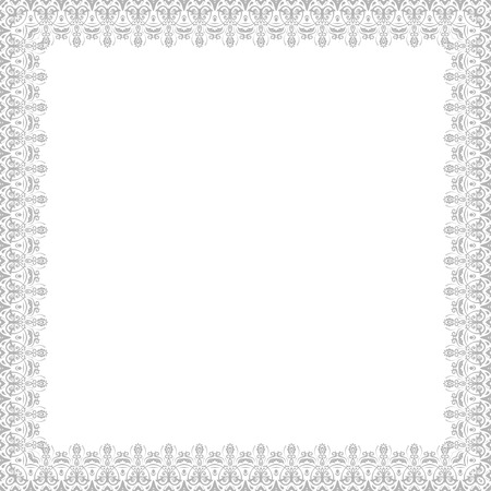 frilly: Oriental vector abstract square silver frame with arabesques and floral elements. Fine greeting card