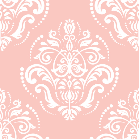 pink wallpaper: Oriental vector classic pink and white ornament. Seamless abstract pattern