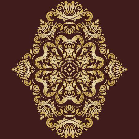 laced: Damask vector floral pattern with golden oriental elements. Abstract traditional ornament