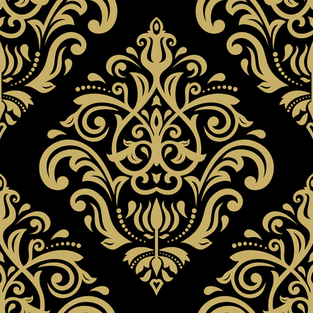 oriental vector: Oriental vector classic black and golden ornament. Seamless abstract pattern