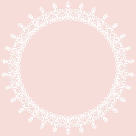 frilly: Oriental  abstract white round frame with arabesques and floral elements. Fine greeting card Stock Photo