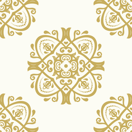 floral background: Oriental vector classic golden ornament with white background. Seamless abstract pattern