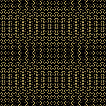 fine print: Geometric fine abstract black background with golden outlines. Seamless modern pattern Stock Photo