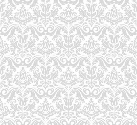 grey pattern: Damask seamless ornament. Traditional vector silver pattern. Classic oriental background Illustration