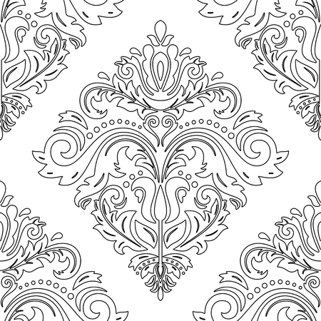 oriental vector: Oriental vector classic ornament witth black ornament. Seamless abstract pattern