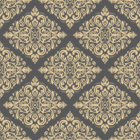 antique wallpaper: Damask seamless ornament. Traditional vector pattern. Classic oriental golden background