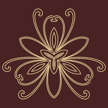 fine: Floral vector golden pattern with fine arabesques. Abstract oriental ornament