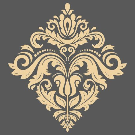 laced: Damask vector floral pattern with oriental golden elements. Abstract traditional ornament Illustration