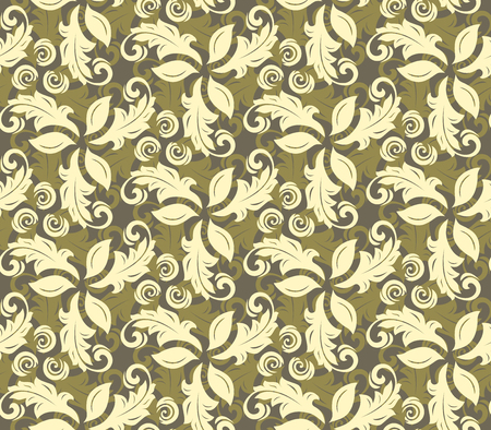 fine: Floral vector golden ornament. Seamless abstract background with fine pattern