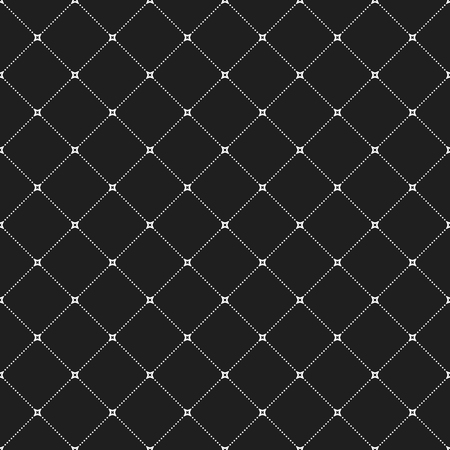 dotted lines: Geometric repeating vector dark ornament with white diagonal dotted lines. Seamless abstract modern pattern