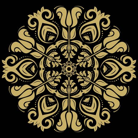 colord: Oriental pattern with golden arabesques and floral elements. Traditional classic ornament