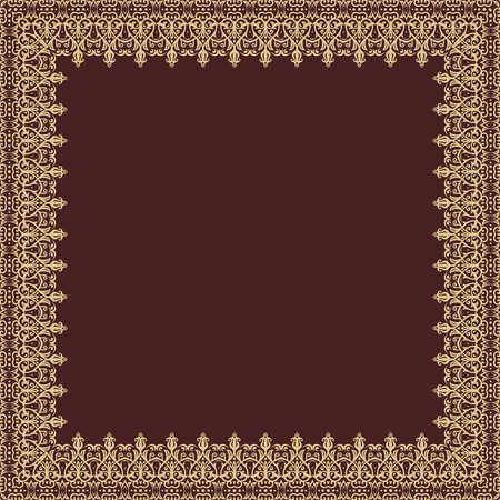frilly: Oriental abstract square frame with golden arabesques and floral elements. Fine greeting card