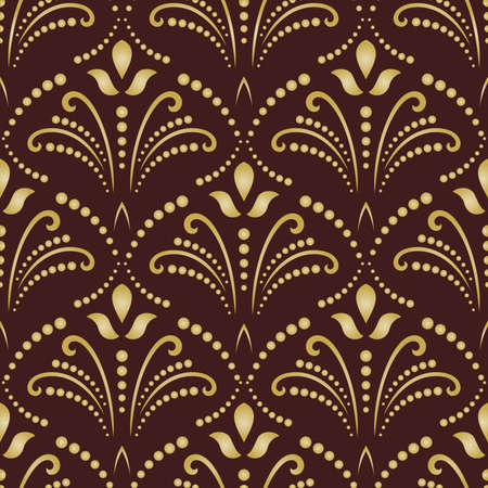 fine: Floral ornament. Seamless abstract classic fine brown and golden pattern
