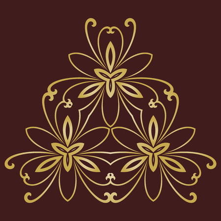 oriental ornament: Floral vector pattern with golden arabesques. Abstract oriental ornament
