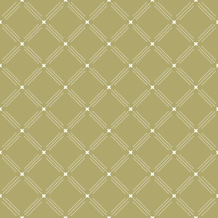 golde: Geometric repeating colored ornament with golden elements and diagonal dots. Seamless abstract modern pattern Stock Photo