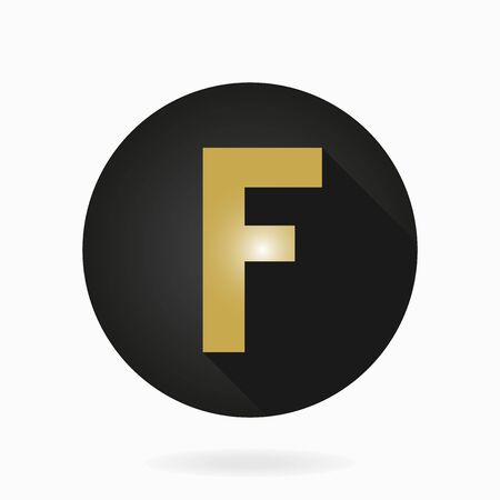 friend nobody: Fine golden letter F in the black circle. Flat design and long shadow